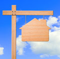 Real estate sign sky background. Royalty Free Stock Photo