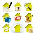 Real estate transactions illustration and as a set of icons Stock Photography