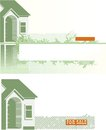 Real estate two vector backgrounds of the house decoration elements and copy space for text Stock Photography