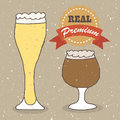 Real lager and ale illustration of vintage hand drawn beer Royalty Free Stock Photography
