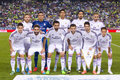 Real madrid team players posing for photos before the spanish cup match between ue cornella and final score on october in Royalty Free Stock Photos