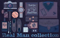 Real man collection flat purple objects with a camera Stock Photos