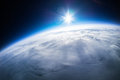 Real photo near space photography km above ground taken from weather balloon Stock Photos
