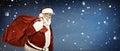 Real Santa Claus carrying big bag Royalty Free Stock Photo