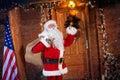 Real Santa Claus ringing on a bell Royalty Free Stock Photo