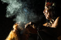 Real shamanic ceremony shaman in ecuadorian amazonia during a ayahuasca model released image as seen in april Stock Photography