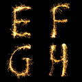 Real Sparkler Alphabet. E F G H Royalty Free Stock Image