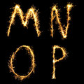 Real Sparkler Alphabet. M N O P Royalty Free Stock Image