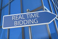 Real time bidding illustration with street sign in front of office building Royalty Free Stock Photography