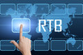 Real time bidding rtb concept with interface and world map on blue background Stock Photos