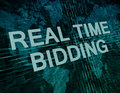 Real time bidding text concept on green digital world map background Royalty Free Stock Photo