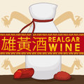 Realgar Wine Bottle with Crystal and Powder for Duanwu Festival, Vector Illustration