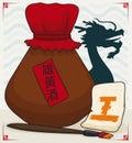 Realgar Wine, Paintbrush and Note for Dragon Boat Festival, Vector Illustration