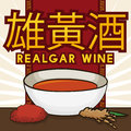 Realgar Wine Served in a Bowl, Crystal and Cereal, Vector Illustration