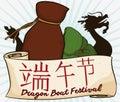Realgar Wine, Zongzi Dumpling and Dragon Boat for Duanwu Festival, Vector Illustration