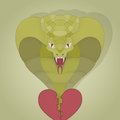 Realisitc cobra from the broken heart. symbolic painted vector illustration for your design. colorful Royalty Free Stock Photo