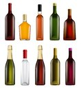 Realistic alcohol bottle isolated set on white Royalty Free Stock Photo