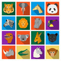 Realistic animals set icons in flat style. Big collection of realistic animals vector symbol stock illustration