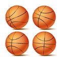 Realistic Basketball Ball Set Vector. Classic Round Orange Ball. Different Views. Sport Game Symbol. Isolated Royalty Free Stock Photo