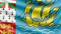 Realistic beautiful Saint Pierre and Miquelon flag 4k