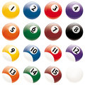 Realistic billiards balls vector isolated on white background all pool change just one global color swatch of bottom reflex to Stock Photo