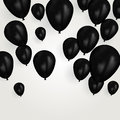 Realistic black birthday balloons flying for party or celebrations. Space for message. Isolated on light background.