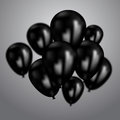 Realistic black birthday balloons flying for party or celebrations. Space for message. on light background.