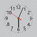 Realistic black wall clock with transparent screen. Vector