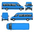 Realistic Van template in outline. Isolated passenger mini bus for corporate identity and advertising. Royalty Free Stock Photo