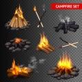 Realistic Campfire Transparent Set Royalty Free Stock Photo