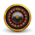 Realistic casino gambling roulette wheel isolated on white background. Vector play chance luck roulette wheel illustration Royalty Free Stock Photo