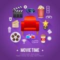 Realistic cinema movie poster template