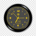 Realistic classic black and yellow round wall Clock isolated on transparent background.