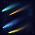 Realistic color vector meteor asteroid comet in the night sky in space. Royalty Free Stock Photo