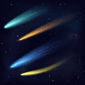 Realistic color vector meteor asteroid comet in the night sky in space. Space Cosmos galaxy background. Royalty Free Stock Photo