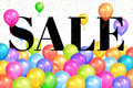 Realistic colorful balloons with text & x22;Sale& x22;.Background for special offer Royalty Free Stock Photo