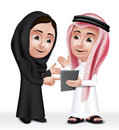 Realistic d arab kids characters boy and girl talking in mobile tablet about school wearing thobe abaya for studies editable Stock Photos