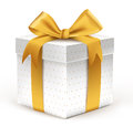 Realistic 3D Beautiful White Gift with Colorful Gold Ribbons Royalty Free Stock Photo