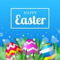 Realistic 3D colorful decorative happy fun egg on the green grass for easter celebration