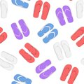 Realistic 3d Colorful Flip Flops Beach Slippers Sandals Seamless Pattern Background. Vector Royalty Free Stock Photo