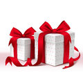 Realistic 3D Colorful Red Gift Box with Pattern and Satin Ribbon Royalty Free Stock Photo