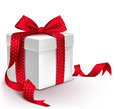 Realistic 3D Colorful Red Gift Box with Pattern Royalty Free Stock Photo