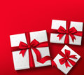 Realistic 3D Colorful Red Gift Box with Patterns Royalty Free Stock Photo
