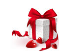Realistic 3D Colorful Sweet Red Gift Box with Hearts Royalty Free Stock Photo