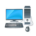 Realistic 3D Computer Case with Monitor, Keyboard and Mouse Royalty Free Stock Photo