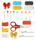 Realistic 3d Sewing Tools Accessories Set. Vector Royalty Free Stock Photo