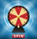 Realistic 3d spinning fortune wheel with Spin button. Wheel of fortune with glowing lamps for online casino
