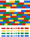 Realistic 2D vector lego wall Royalty Free Stock Photo