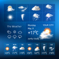 Realistic design for a mobile weather forecast application Royalty Free Stock Photo