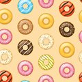 Realistic Detailed 3d Glazed Donuts Seamless Pattern Background. Vector